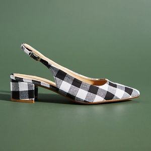 Black and White Anthropologie Gingham Heels (NWT)